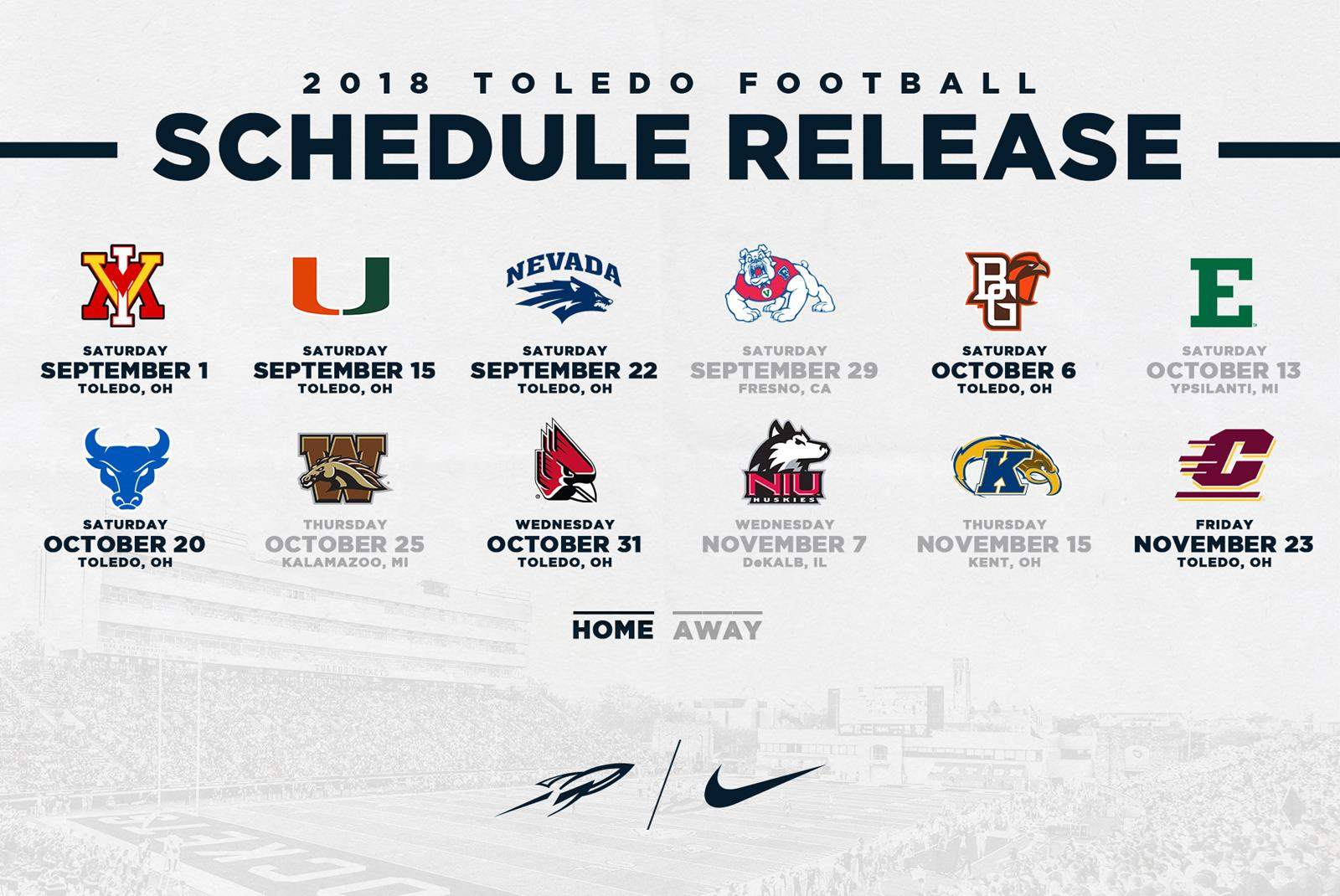 Bgsu Football Schedule 2019 Toledo's 2018 Football Schedule Features Seven Home Games